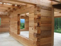 Dovetail log wall interior. Log Cabin Living, Small Log Cabin, Log Cabin Homes, How To Build A Log Cabin, Building A Cabin, Timber Cabin, Timber House, Cabin House Plans, Small House Plans