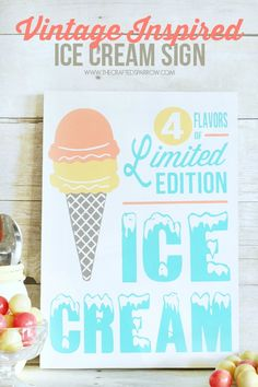 Vintage Inspired Ice Cream Sign