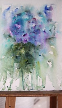 Blue hydrangea in watercolour. On my easel waiting to be completed