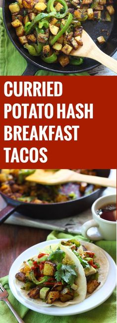 A savory hash of crispy curried crispy potatoes, green peppers and onions are stuffed into tortillas with avocado and smothered in hot sauce to make these super easy, spicy and delicious breakfast pot (Spicy Vegan Tacos)