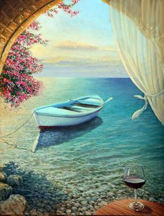 Three-dimensional painting. continuation of the painting on two solid-wood frames Title: La Dolce Vita Size: 23.2 x 30.7(60 x 80 cm) Gallery Estimated Value: $9,500 Type: Original Oil Painting on Canvas Free Shipping! This Original Oil Painting gives a Mediterranean Atmosphere of