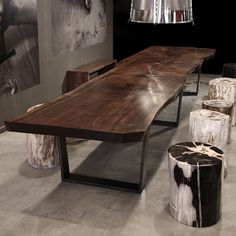 Hudson Furniture dining table with tapered base - This is a great look for a modern lodge style.