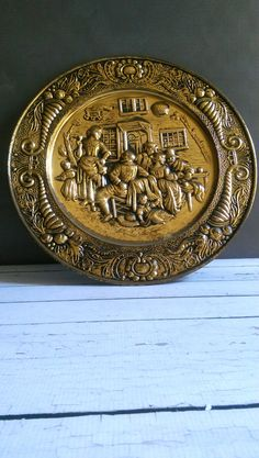 Vintage brass tray/ Lombard Hanging Wall by VintageBrassRevival