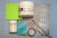 Glittered Stenciling: stencil a glittered pattern onto car stock or colored image.-step-by step instructions and a  Video: 2:43 mins