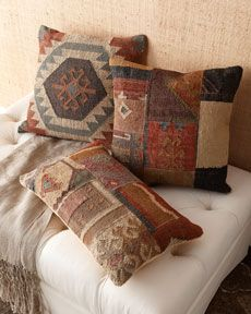 Shop luxury pillows and throw pillows at Horchow. Browse our luxurious selection of decorative and throw pillows in a variety of sizes and styles. Living Room Cushions, Boho Cushions, Cushions On Sofa, Kilim Pillows, Throw Pillows, Textured Carpet, Patterned Carpet, Home Design Living Room, Diy Cushion
