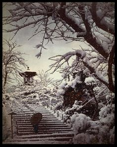 GEISHA RETURNING THROUGH THE PARK IN THE SNOWFALL OF A WINTER STORM -- A Scene from Old Meiji-Era Japan by Okinawa Soba, via Flickr