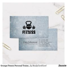 Grunge Fitness Personal Trainer Kettlebell Barbell Business Card