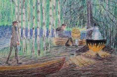 Kalle Aaltonen. Väriliitu paperille. Yksityiskohta pontikankeittäjistä. Painting, Art, Art Background, Painting Art, Kunst, Paintings, Performing Arts, Painted Canvas, Drawings