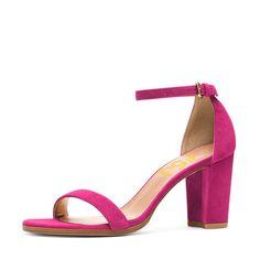 #FSJshoes - #FSJ Shoes Hot Pink Block Heel Sandals Ankle Strap Heels - AdoreWe.com