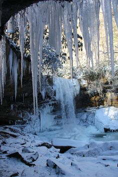 9. The beautiful Cucumber Falls in winter. This lovely place is located in the Ohiopyle State Park.