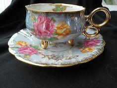 BEAUTIFUL IRIDESCENT THREE FOOTED TEA CUP & SAUCER GOLD TRIM. ROYAL HALSEY JAPAN