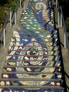 Close up 16th Ave Tiled Steps Inner Sunset San Francisco photo by Michele Nelson
