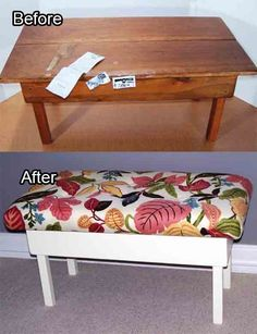 How To Turn An Ugly Coffee Table Into An Upholstered Bench (great idea for thrift store/charity shop deals.)
