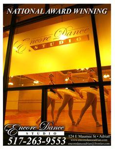 "Encore Dance Studio - ""Professional Instruction in a Positive Environment."" Ballet, Jazz, Pointe, Tap, Lyrical, Hip Hop, Combo Classes (Ballet/Tap) (Hip Hop/Tap) (Lyrical/Hip Hop), and Mommy & Me."