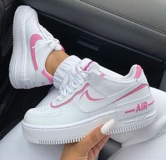Find the best selection of Nike Air Force 1 Shadow white and pink sneakers. Shop today with free delivery and returns (Ts&Cs apply) with ASOS! Nike Shoes Air Force, Nike Air Force Ones, Air Force Sneakers, Nike Force 1, Zapatillas Nike Air Force, Nike Af1, Souliers Nike, Aesthetic Shoes, Urban Aesthetic