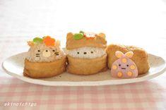 「すみっコぐらしのごはん&スイーツ」試作写真 Kawaii Bento, Cute Bento, Sushi Lunch, Bento Box Lunch, Apple Crisp Bars Recipe, Cute Food, Good Food, Kawaii Cooking, Food Collage