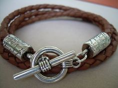 Mens Leather Bracelet Saddle Braided by UrbanSurvivalGearUSA, $18.99