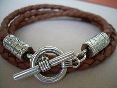 Mens  Leather Bracelet  Saddle Braided by UrbanSurvivalGearUSA, $18.99