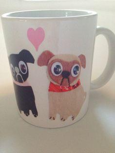 Black pug and white pug are best friends. Pug mug. So cute. Cartoon pugs. Sweet. Dog lover. Pet. Pugs.