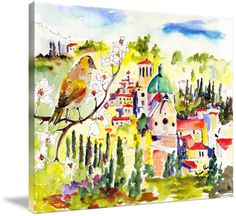 """""""Spring in Assisi Italy Umbria Watercolor Ginette"""" by Ginette Callaway, Lovejoy // Bird Overlooking the town where St. Francis of Assisi was born. He became the Patron Saint of Animals, knows for his special ways with animals of all kinds. Birds flocked to him and he loved them.it was he who said:'If you have men who will exclude any of God's creatures fro... // Imagekind.com -- Buy stunning fine art prints, framed prints and canvas prints directly from independent working artists and ..."""