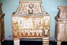 Minoan Sarcophagus from Aghia Triada. Adorned with the double-axe which symbolizes Transcendence and The Afterlife. c.1500 BC.
