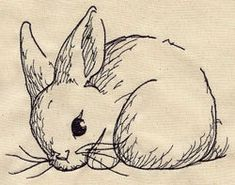 Sketch Bunny Embroidered Flour Sack Hand/Dish Towel. $13.99, via Etsy.