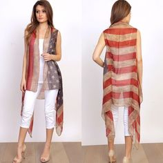 HP Vintage Style American Flag Vest Cover-Up New in retail packaging. Vintage style American Flag cover-up, vest. Available in O/S fits most, fits Plus Sizes as well.                                                                       PRICE IS FIRM UNLESS BUNDLED                                  ❌SORRY, NO TRADES.                                                 SPRING STYLE HOST PICK Boutique Jackets & Coats Vests