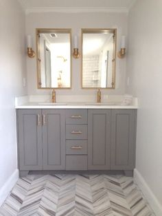50 fresh small master bathroom remodel ideas for grey guest bath remodel gates grey vanity chevron tile floor brass accents in the bathroom bedroom Bathroom Renos, Bathroom Flooring, Gold Bathroom, White Bathrooms, Master Bathrooms, Bathroom Mirrors, Bathroom Hardware, Small Bathrooms, Basement Bathroom