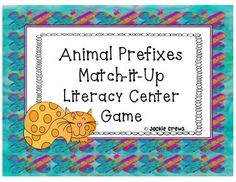 In this literacy center there are 24 base words on colorful animal cards to match up and three prefix header cards with dis-, re-, and un-. Students should have had some exposure to prefixes prior to this center activity so that they will have a pretty good idea as to which prefixes will work with each base word.