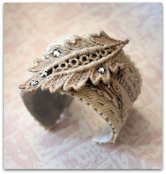 cuff bracelet--great inspiration; love the use of printed burlap