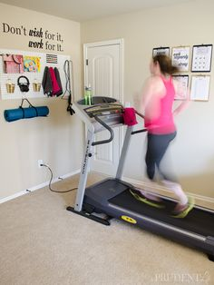 Home Gym {How to Turn a Corner to a Mini-Gym} Organized Exercise CornerTurn On Turn On may refer to: Home Gym Decor, Gym Room At Home, Workout Room Home, Workout Rooms, At Home Workouts, Exercise Rooms, Cardio Workouts, Workout Schedule, Workout Room Decor