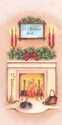 Vintage Greeting Card Christmas Home Interior Glowing Fireplace Cat Kitten