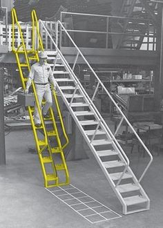 Space-saving, safety stair with alternating tread design for steep applications in lieu of ships' ladders and vertical ladder. Lapeyre Stair's Alternating Tread Stair is ergonomic, improves safety, and is efficiently designed.