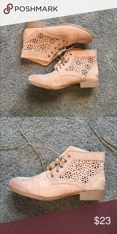 decc37e61e2 Shop Women s Charlotte Russe Tan size 9 Ankle Boots   Booties at a  discounted price at Poshmark. Description  Great condition- cut out design  on both sides.