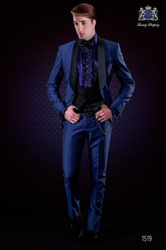 Traje de novio esmoquin azul eléctrico de moda Ottavio Nuccio Gala 08317c3103b