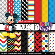 MICKEY MOUSE Clubhouse Disney Digital Paper Patterns Background black yellow red blue chevron for party printables invitations scrapbooking