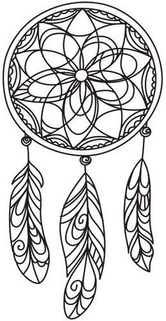 ☮ American Hippie Art ☮ Adult coloring page tattoo idea .. Dreamcatcher