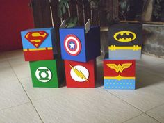 All Super Hero Characters centerpieces done by decorationmaniaevents@aol.com