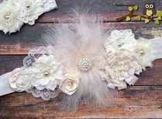 Gorgeous Sash Set Headband Maternity Sash Wedding by Doodlebopperz, $34.00