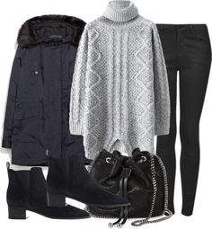 Untitled #4632 par natalie-123s utilisant hauts à manches longuesHauts à manches longue, €32 / Zara jacket, €53 / Topshop black jeans, €62 / Acne Studios demi bottes noire, €445 / STELLA McCARTNEY black purse, €885