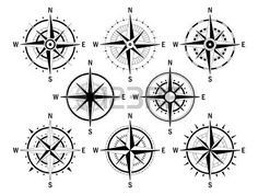 compass: Vector image set of variations of the mark Wind Rose. Illustration