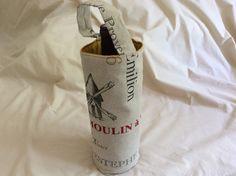 Sac à bouteille en coton 27x15cm doublé avec du coton uni ocre jaune matelassé : Autres sacs par pascaline-creations