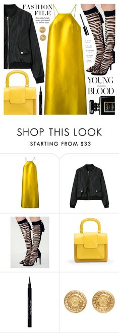 """""""Untitled #1677"""" by noviii ❤ liked on Polyvore featuring Erika Cavallini Semi-Couture, Bill Blass, Givenchy, Versace and Chanel"""