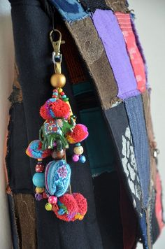 Beaded HMONG Hill Tribe Bags Keychain Long Charm by Dollypun