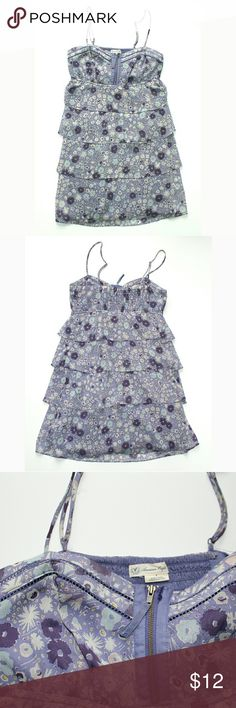 AEO Purple Tiered Sheer Floral Sun Dress Excellent like new condition, does have one flaw, the seam is coming loose by the zipper, pictured. Not very noticeable. American Eagle Outfitters Dresses Mini