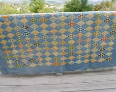 "RESERVE for Andre - 1930s Quilt - Blue and Yellow - 72"" x 73"" - vintage 1930s handstitched"