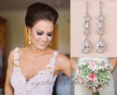 Crystal Bridal Earrings Crystal Wedding earrings by CrystalAvenues