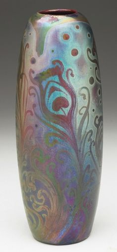 Weller Pottery, Sicard line, Vase with peacock feathers, 8-1/2 inches high. www.treadwaygallery.com