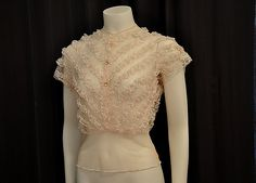 Sheer Genius Vintage 40's Pink Chevron Lace All Over Blouse
