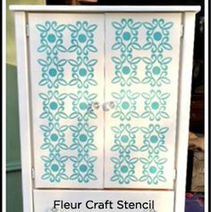 Armoire Redo, Armoire Makeover, Painted Armoire, Cool Stencils, Stencil Diy, Lucky 7, Cutting Edge Stencils, Repurposed, Vinyl Decals